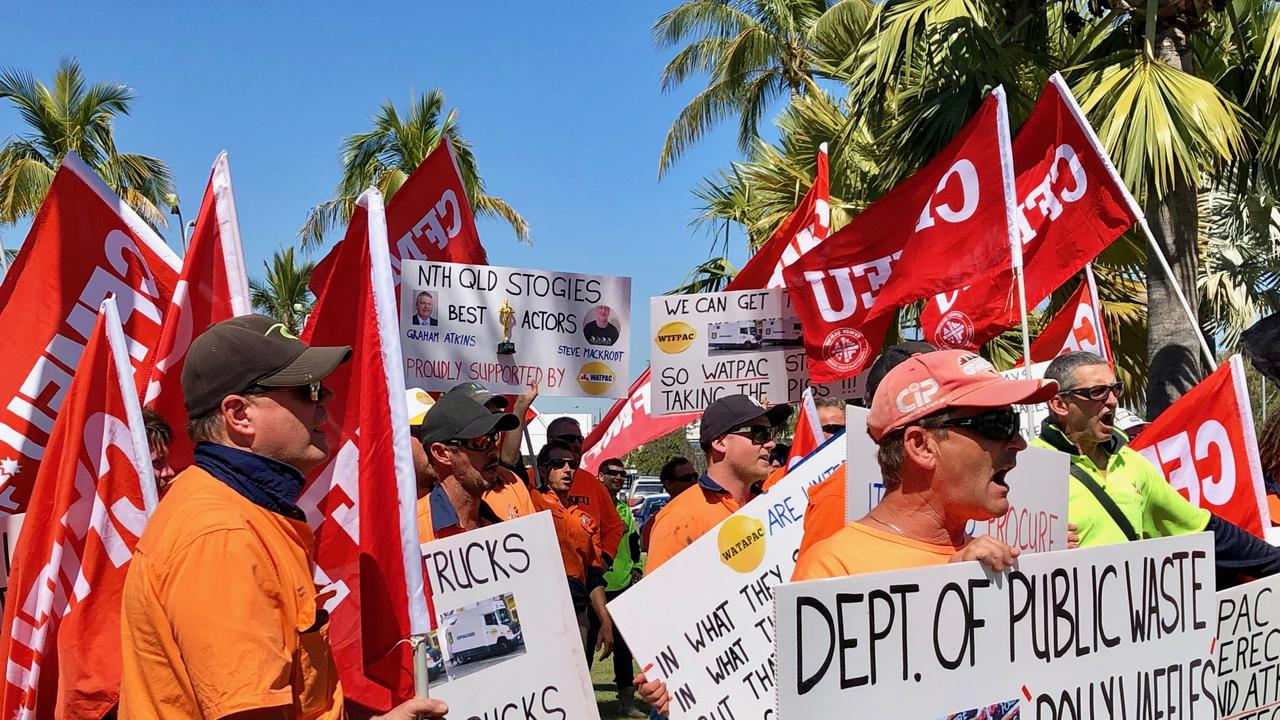CFMEU workers protest outside Townsville sitting of State Parliament, August 4 2019. Picture: Madura McCormack