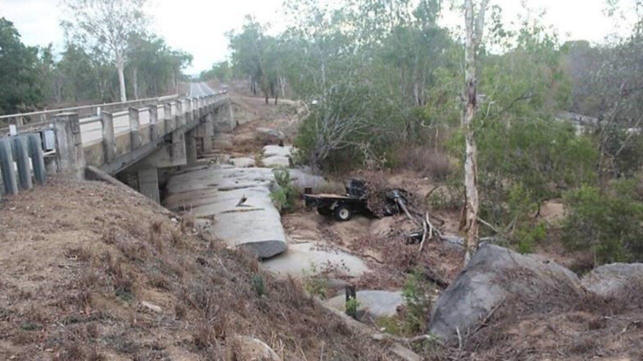 The old-style Nissan Navara ute found under the Jack Phillips Bridge on Peter Delemothe Road at Bogie.