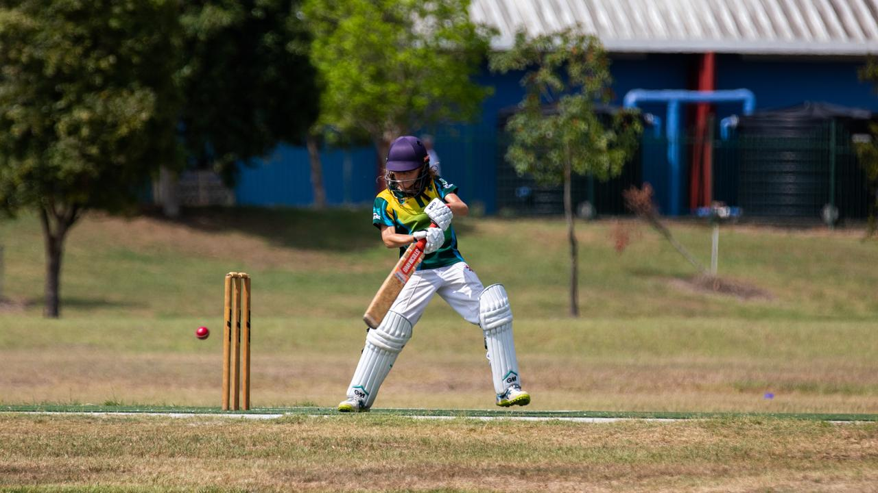 Action from the Far North Coast Sixers game against Penrith in the Lismore Workers under-12 cricket carnival.