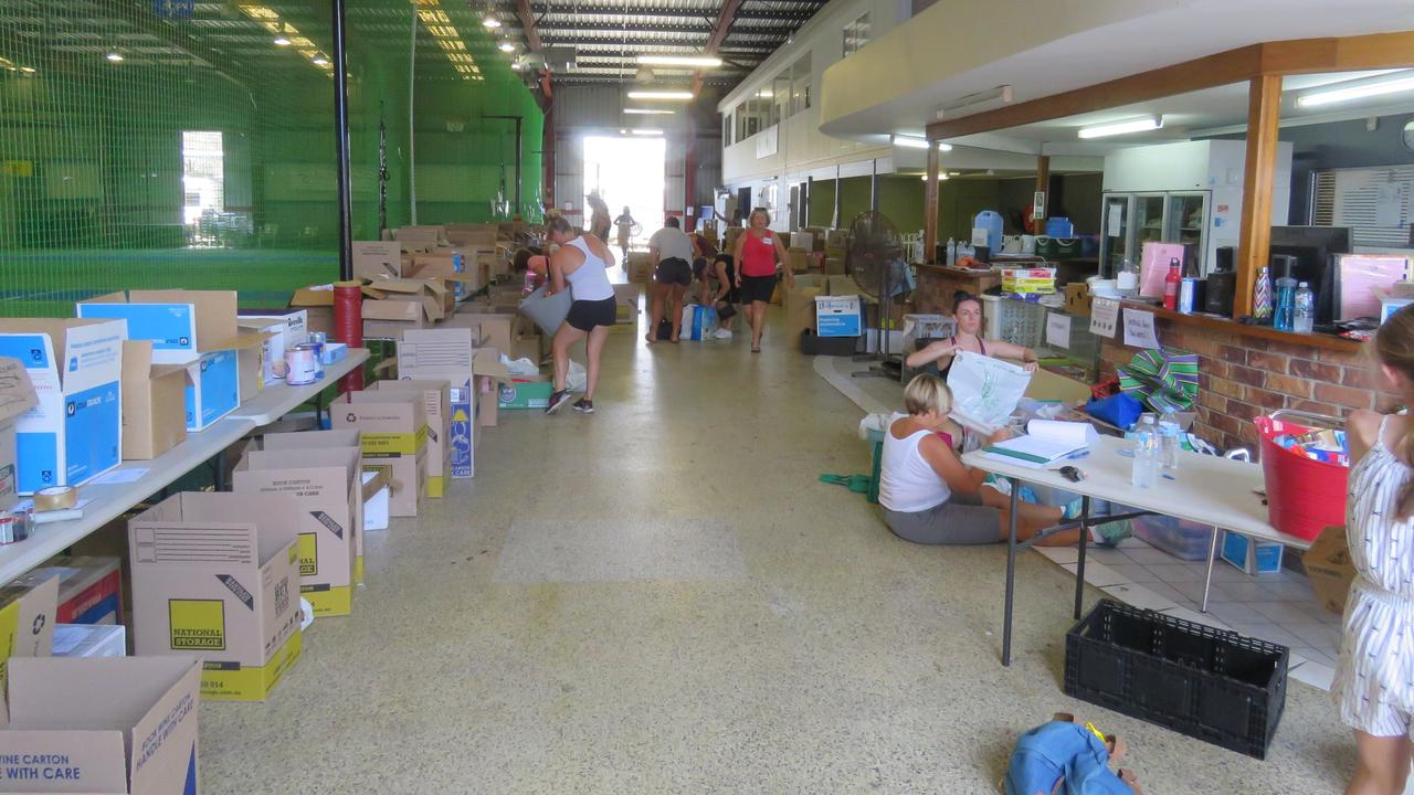Donated items bound for NSW south coast bushfire victims being sorted at the Chinderah Bushfire Drop Off point. Picture: Bob Anthony.