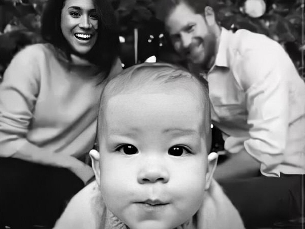 Prince Harry, Meghan and Archie in their 2019 Christmas card. Picture: Twitter