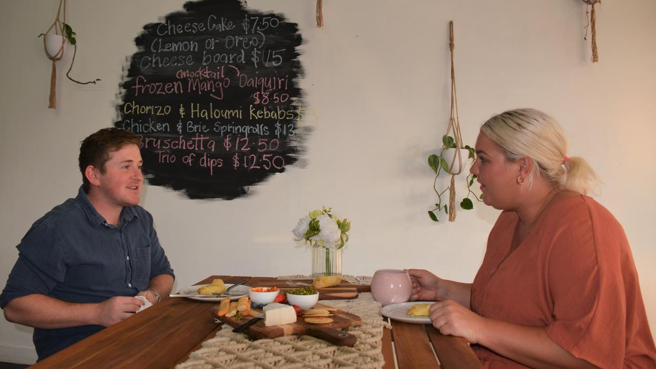 Tom Martin and Courtney Langer inside Cocos Tapas Bar in Nanango.