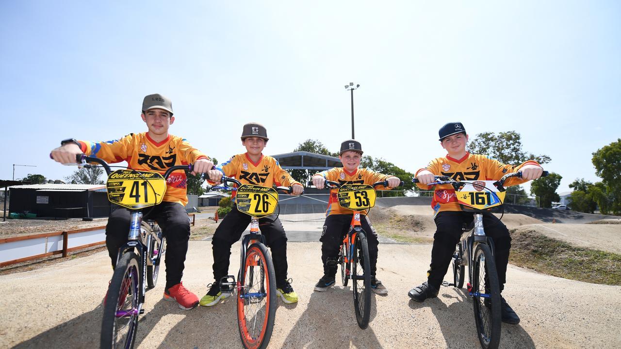 BMX racers Chayse Ireland, Seth Ireland, Archer Gall and Angus Gall.