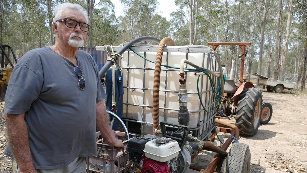 Glenugie land owner Terry Purcell has hit a red tape wall attempting to get 1000 litres of water to fill the tank on his home made fire fighting trailer.