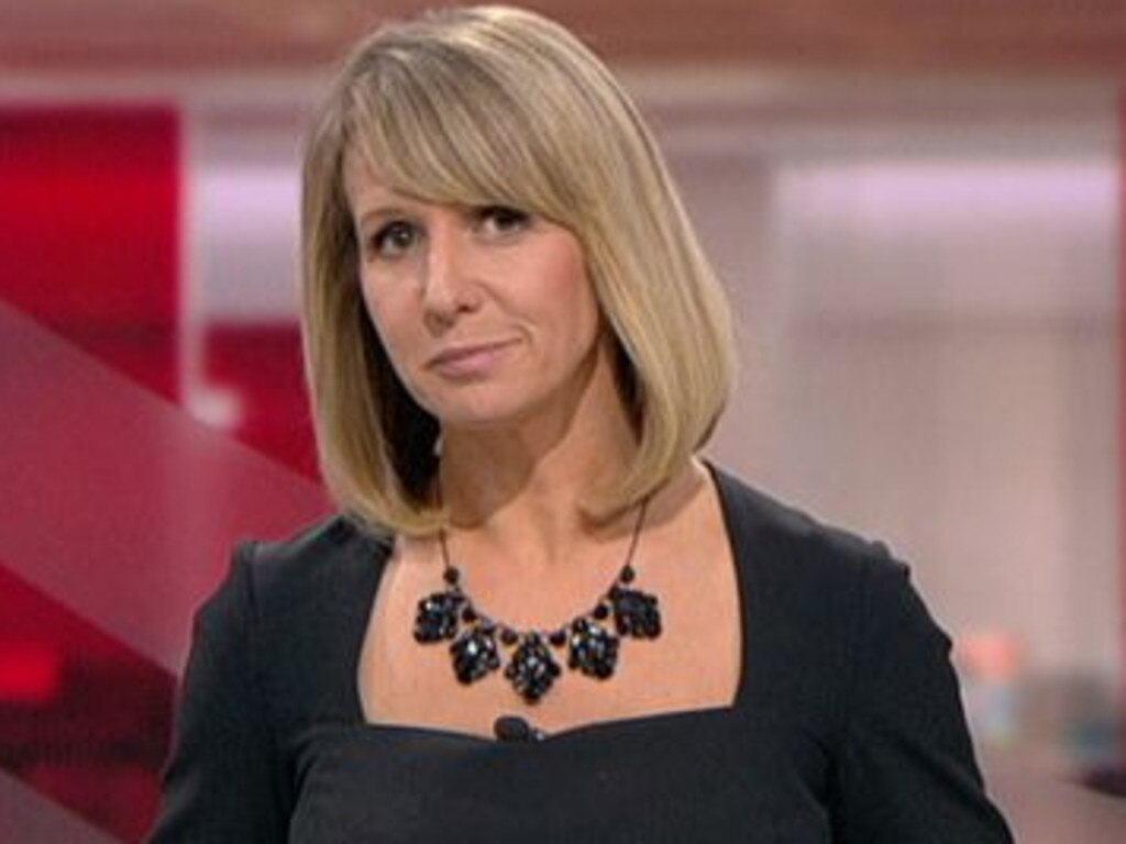 BBC presenter Liz Beacon presented a bulletin despite her Zara dress being held together with tape and clips. Picture: BBC News