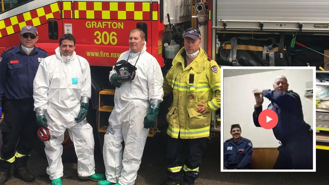 The Grafton Fire and Rescue crew who travelled down to Conjola Park... and posted a dance video