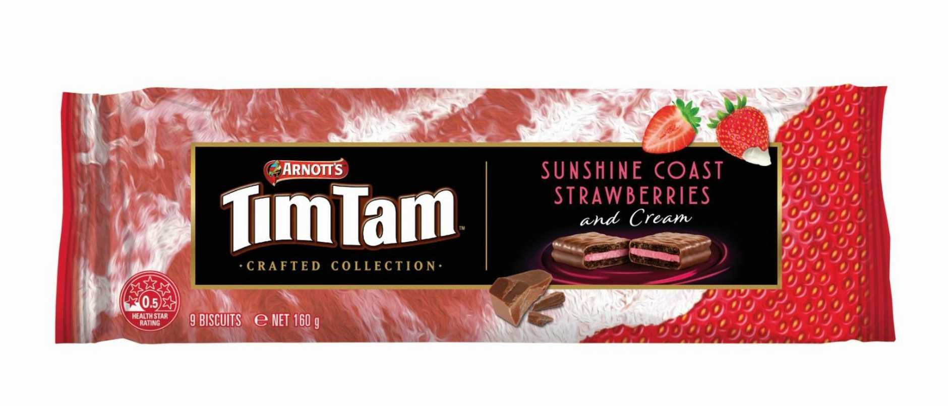The Sunshine Coast Strawberries and Cream Tim Tam will hit shelves next week. Photo: Contributed