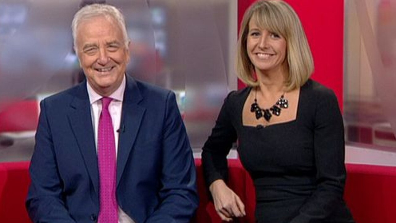 BBC newsreader Liz Beacon, with her co-host David Garmston, presented a bulletin wearing a dress held together with clips and gaffer tape. Picture: BBC News