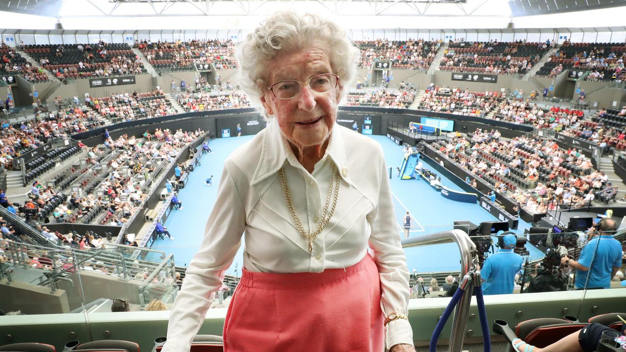 Irene Buchanan, 106, watched the tennis live for the first time on Thursday at the Brisbane International at the Pat Rafter Arena, in Tennyson. Picture: Liam Kidston.