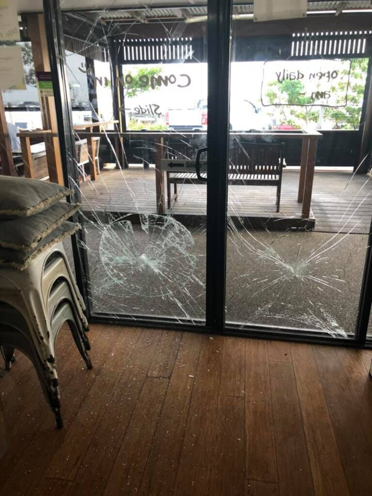 The aftermath of vandalism at The Salty Beardman Cafe in Kingscliff on Tuesday night. Picture courtesy of Jackson Quinn.