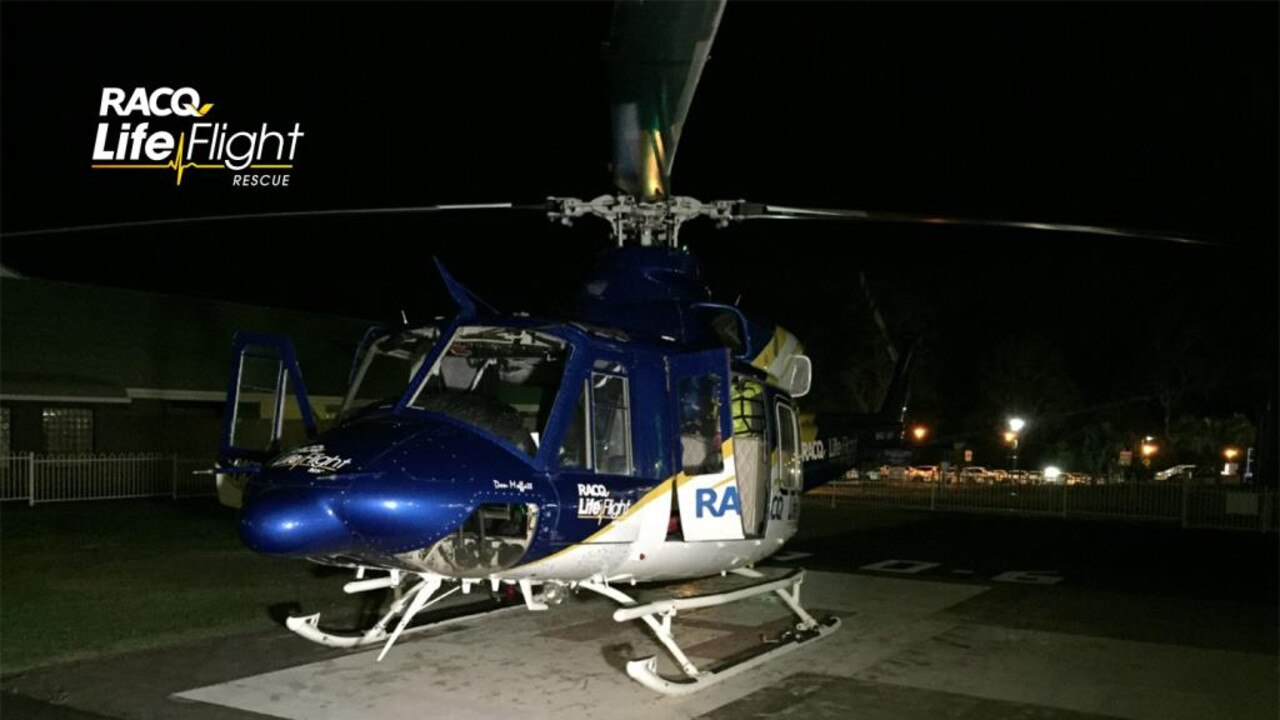 Bundaberg's RACQ LifeFlight Rescue helicopter has airlifted a girl to hospital, after she reportedly suffered a shark bite to the lower leg.