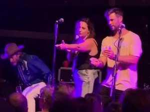 Chris Hemsworth, Celeste Barber and Liam Hemsorth on stage
