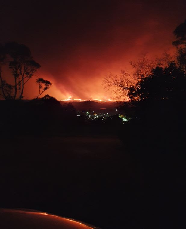 Corryong just before the fire jumped Mt Mittamatite in the early hours of New Year's Eve.  Image: supplied