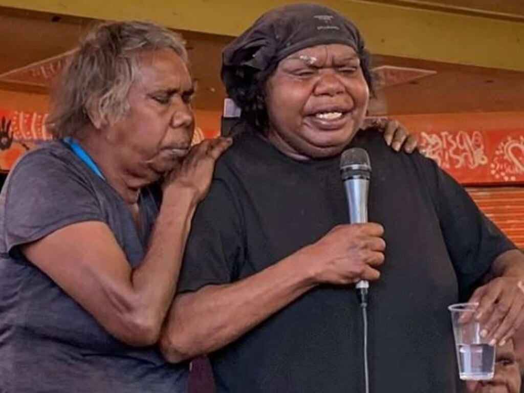 Kumanjayi Walker's mother Leanne Oldfield, pictured mourning him at a protest in November 2019, has launched legal action against the NT Police. Picture: ABC