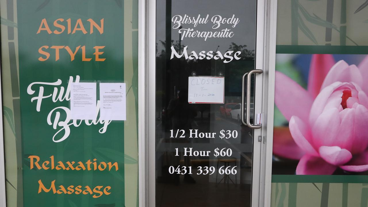 The shut down notices placed on Blissful Body Massage last month. Photograph: Jason O'Brien