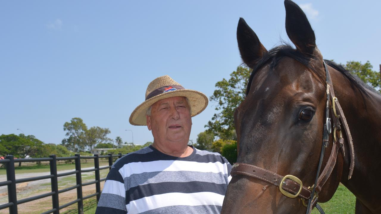 SPIRITED HORSE: Gladstone trainer Phil Pengelly with his gelding Sequalo's Spirit which will race on Saturday. PICTURE: Nick Kossatch