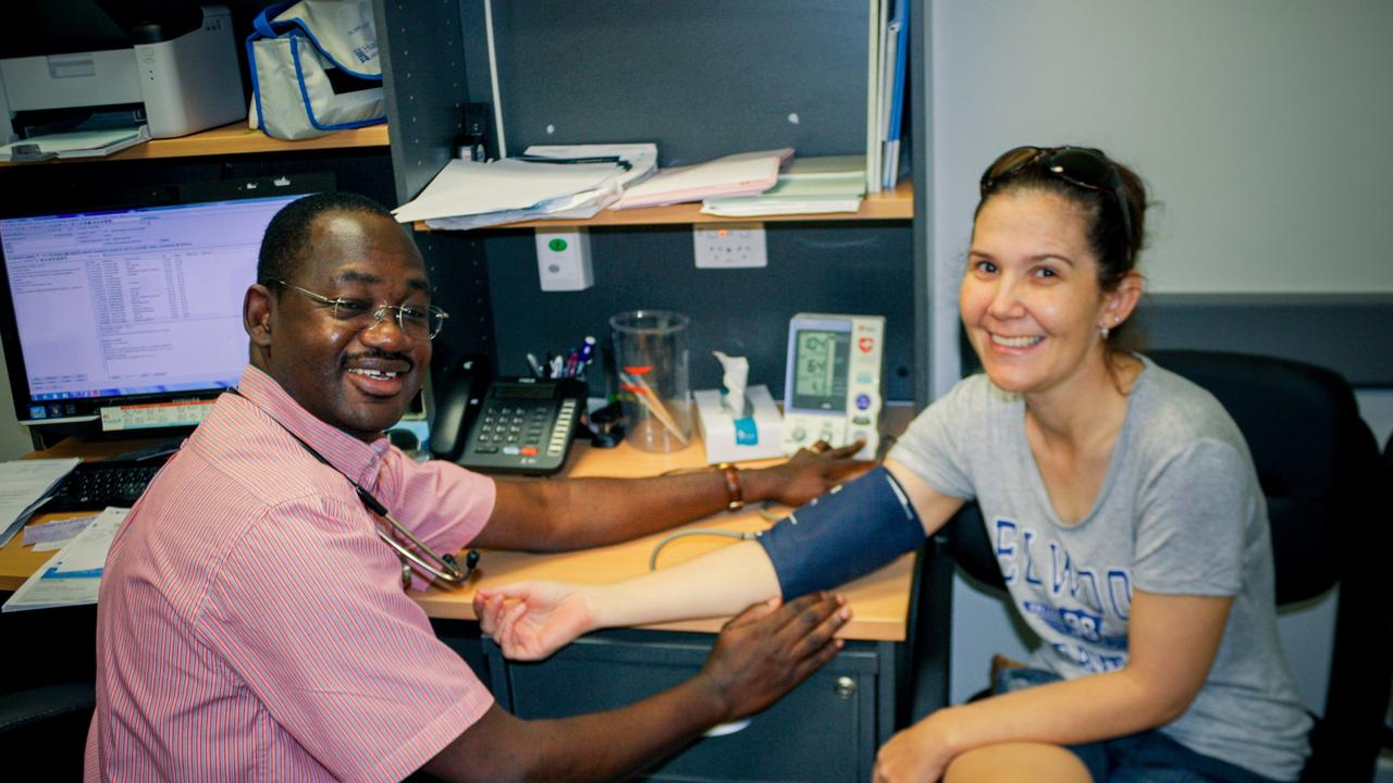 Dysart Medical Centre Dr Sunday Adebiyi with patient Petrina Gifford. Picture: Contributed