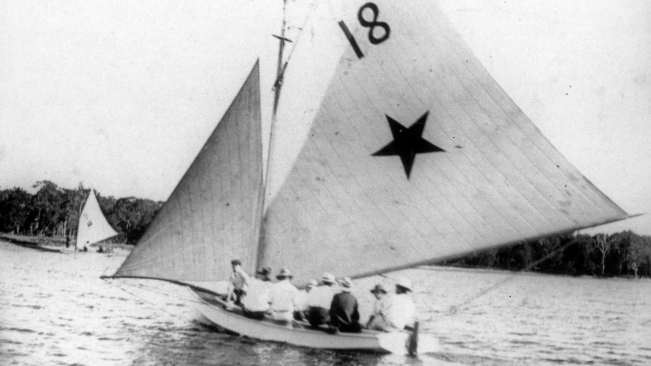Sailing boat Dixie II on the Maroochy River near Chambers Island, ca 1912. Picture: Contributed