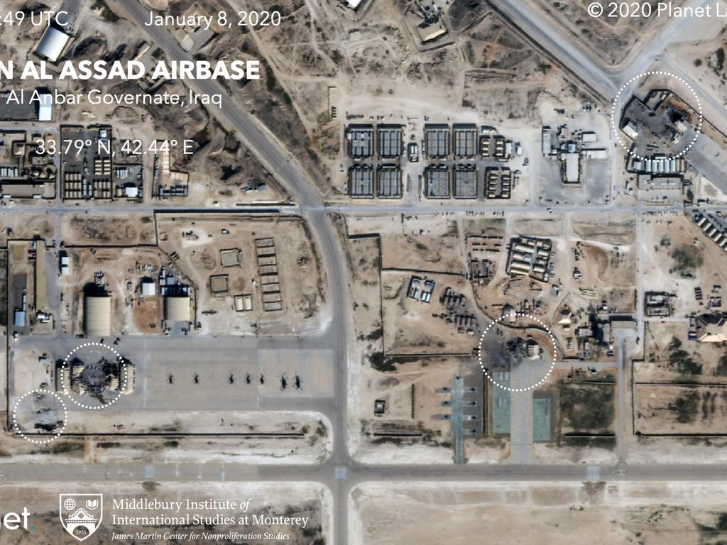 This satellite image shows the damage caused from an Iranian missile strike at the Ain al-Asad air base in Iraq. Picture: Planet Labs Inc./Middlebury Institute of International Studies via AP