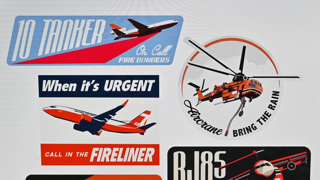 James Tockuss has created a bunch of retro stickers and has raised money for the bushfire victims and fireys. Picture: Cordell Richardson