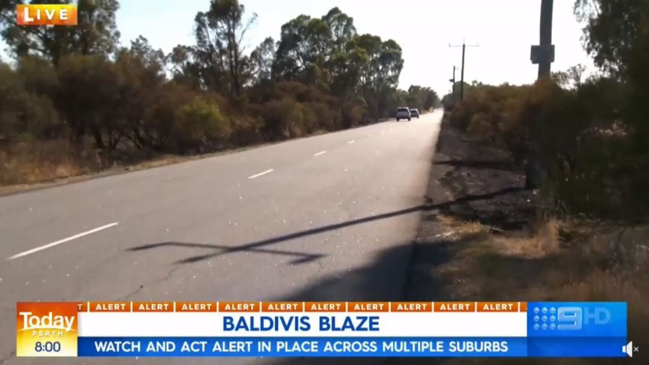 The road where the blaze began. Picture: Nine News