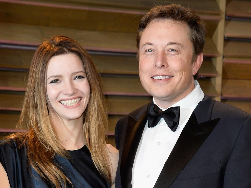 Actress Talulah Riley (L) and CEO of Tesla Motors Elon Musk in 2014. Picture: Getty