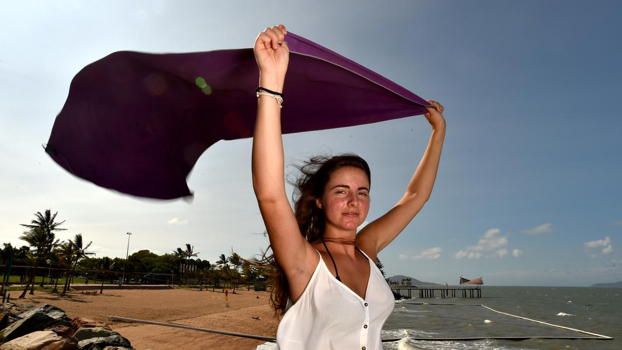 Julia Engl from Italy enjoys the windy weather on the Strand. Picture: Evan Morgan