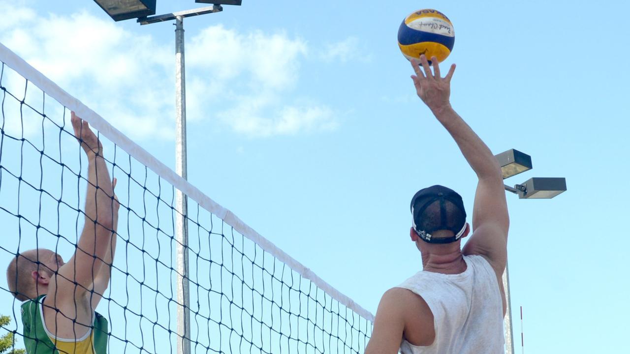 Queensland Beach Volleyball Tour: (Lto R) Rockhampton's Jordan Cox, Bundaberg's Rick Gough and Scott Mc Pherson