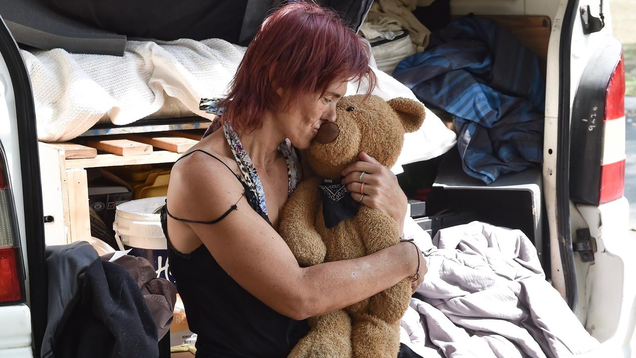 Kristy Savage says her support bear Bronx makes her feel safe while sleeping rough on the streets of Caloundra.