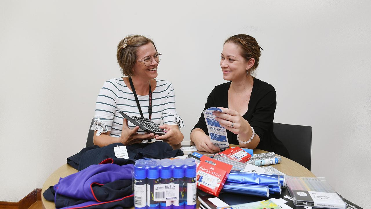 Daily Mercury Journalist's Angela Seng and Lucy Martin gettng ready for back to school. Picture : Tony Martin