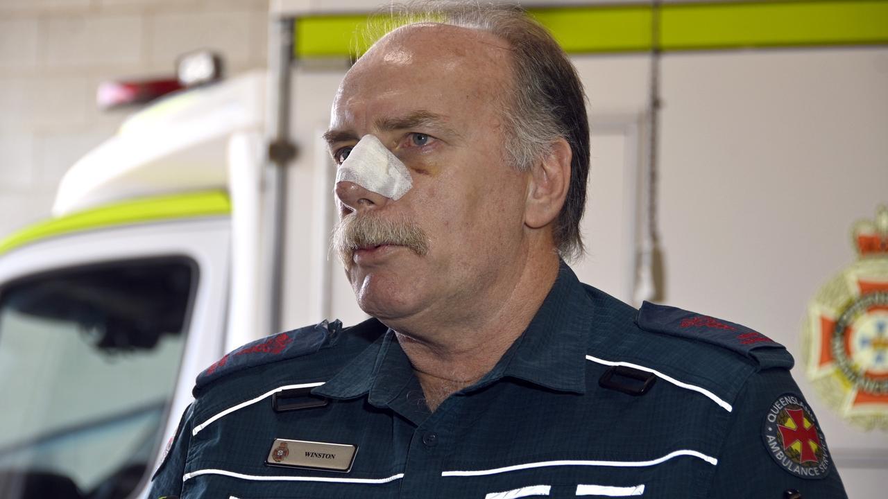 Highfields Advanced Care Paramedic Winston Lobegeier talks to the media about his recent assault.