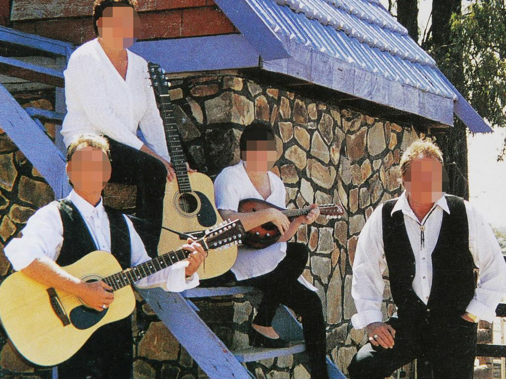 Charlie Colt left and his father Tim Colt right plus two female members of the band back in the day.