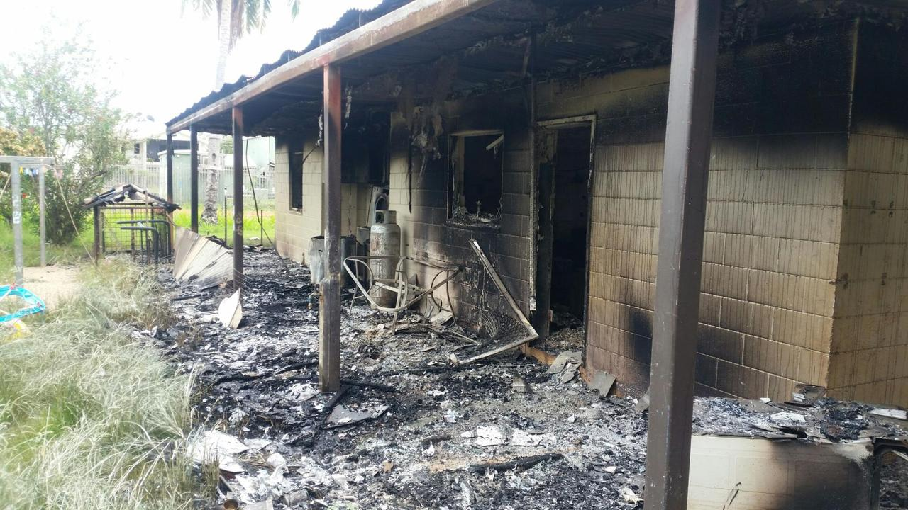 One of six houses in Aurukun which was destroyed by a rioting mob after a fatal stabbing. Picture: Supplied