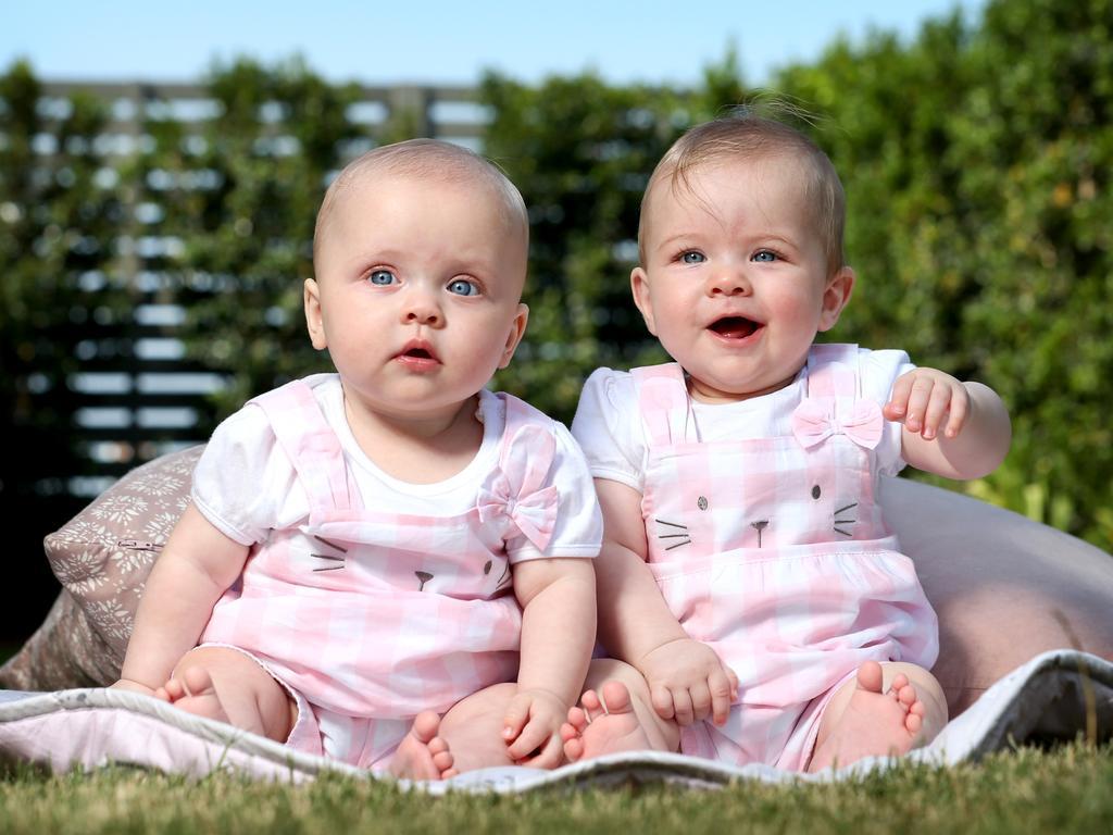 Olivia Harper Woodbridge and twin sister Grace Evelyn. Picture: Steve Pohlner