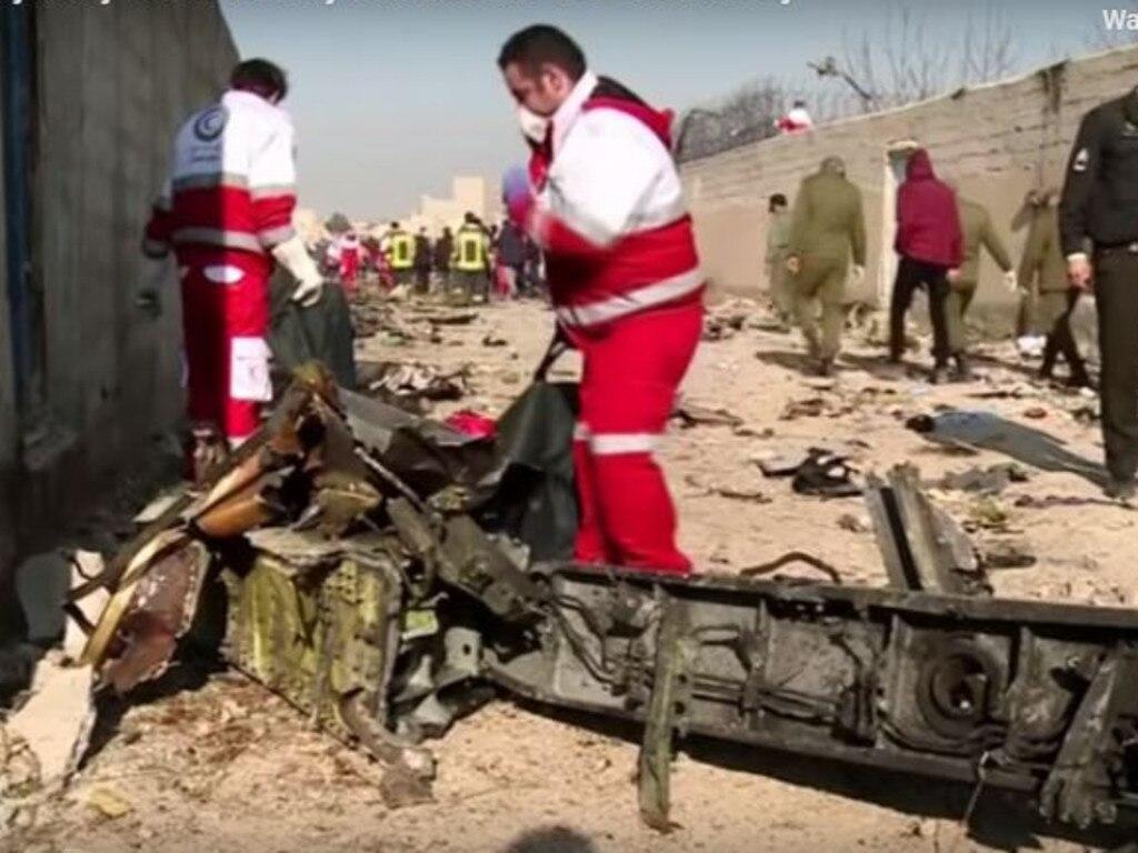 Iranian authorities examine debris from Ukrainian International Airlines flight PS752. Picture: Supplied