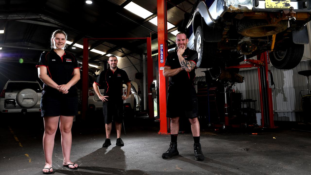 AS GOOD AS NEW: AZNU Automotives owners, mechanics Tony and Sophie Cowan, with fellow mechanic Jake McDonald in their South Lismore workshop. Photo: Marc Stapelberg