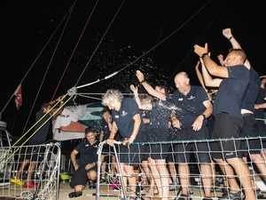 The first yacht in the round the world race has arrived