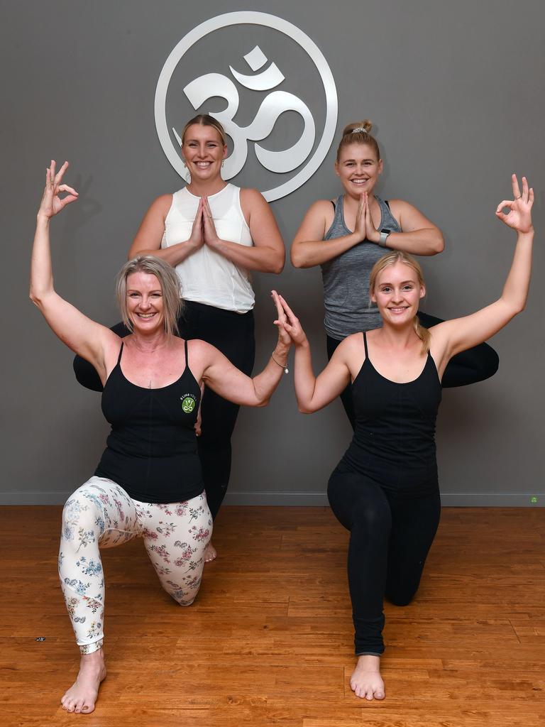 Susan Deakin (front left) with Chandler Burston, Dakota Deakin and Tayah Deakin at 8 Limb Yoga. Picture: Tony Martin