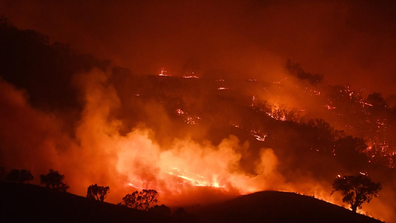 The Dunn Road fire last night. Picture: Getty
