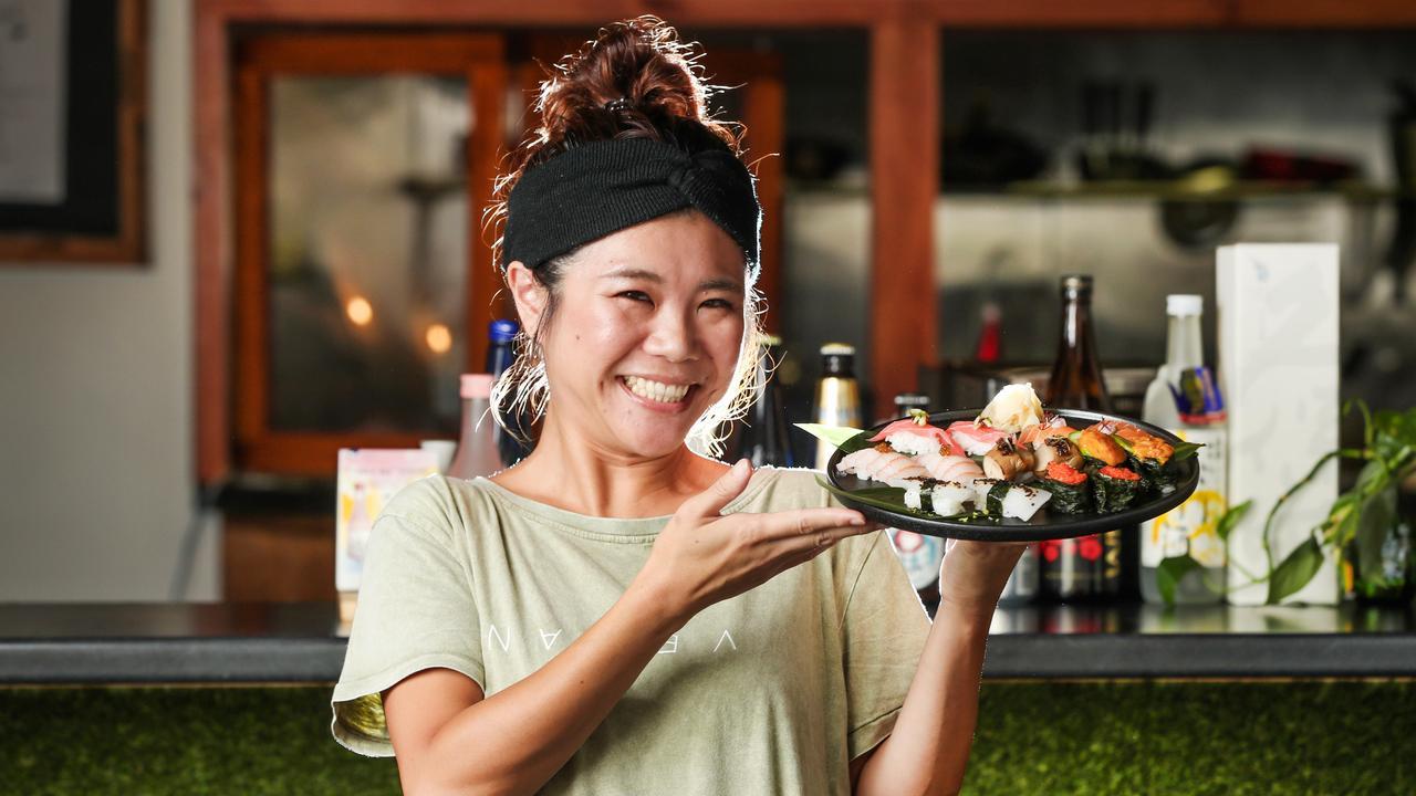 Haruna Nakagawa with a platter of vegan sushi at Izayaka Midori. Picture: Nigel Hallett