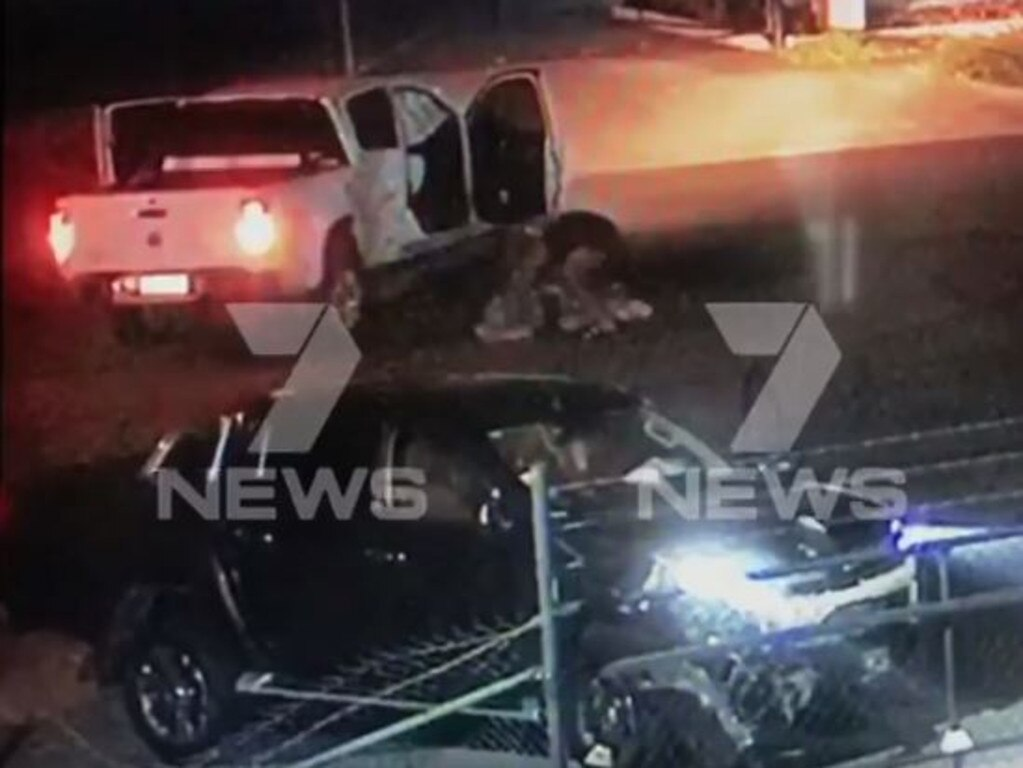 Two teens have been served some rough justice after a vehicle they allegedly stole was rammed off the road south of Brisbane. Picture: 7 News Queensland