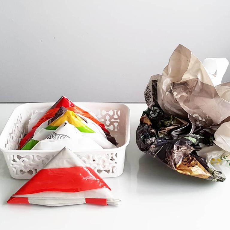 A cleaning influencer has shared her trick to keeping grocery bags neat and tidy. Picture: Instagram/Mrs D Cleaning