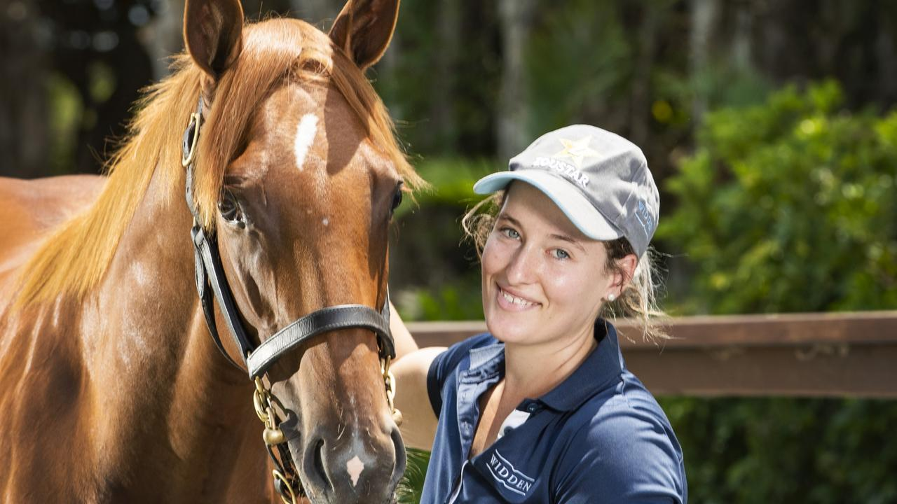 Magic Millions 2020: Widden Stud's Shelby Cox with the half sister to Melbourne Cup winner Vow And Declare. Picture: Nigel Hallett