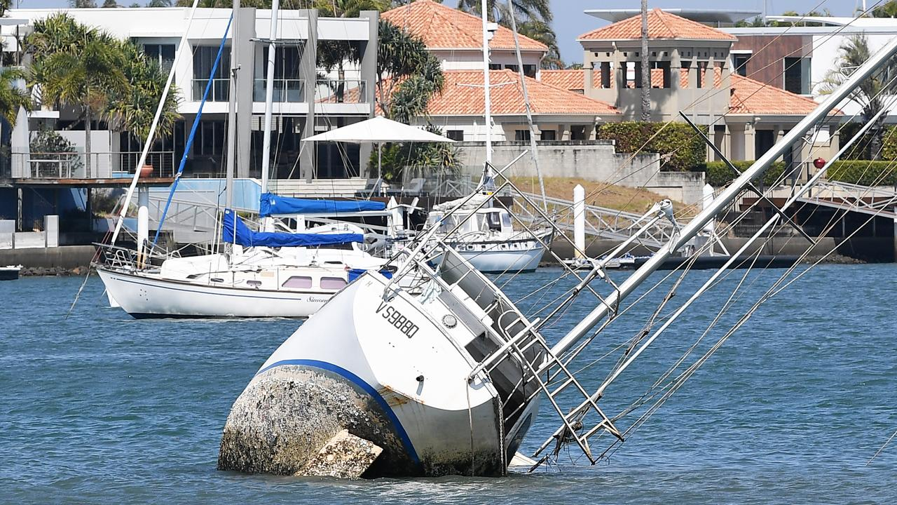 The half-sunken yacht in the Mooloolah River. Photo Patrick Woods / Sunshine Coast Daily.