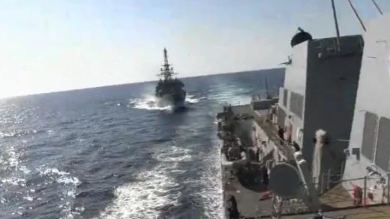 The Russian ship was dangerously close to the USS Farragut before the US ship 'sounded five short blasts'. Picture: U.S. Naval Forces Central Command/5th Fleet