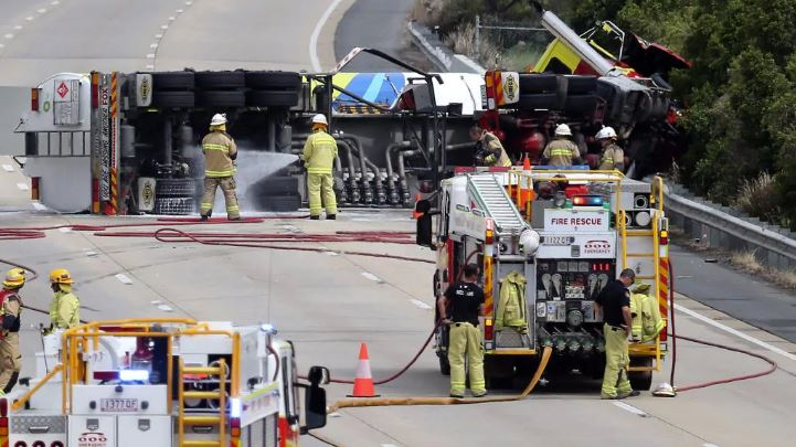 The petrol tanker closed all lanes of the M1 for several hours on Saturday. Picture: AAP Image/Richard Gosling
