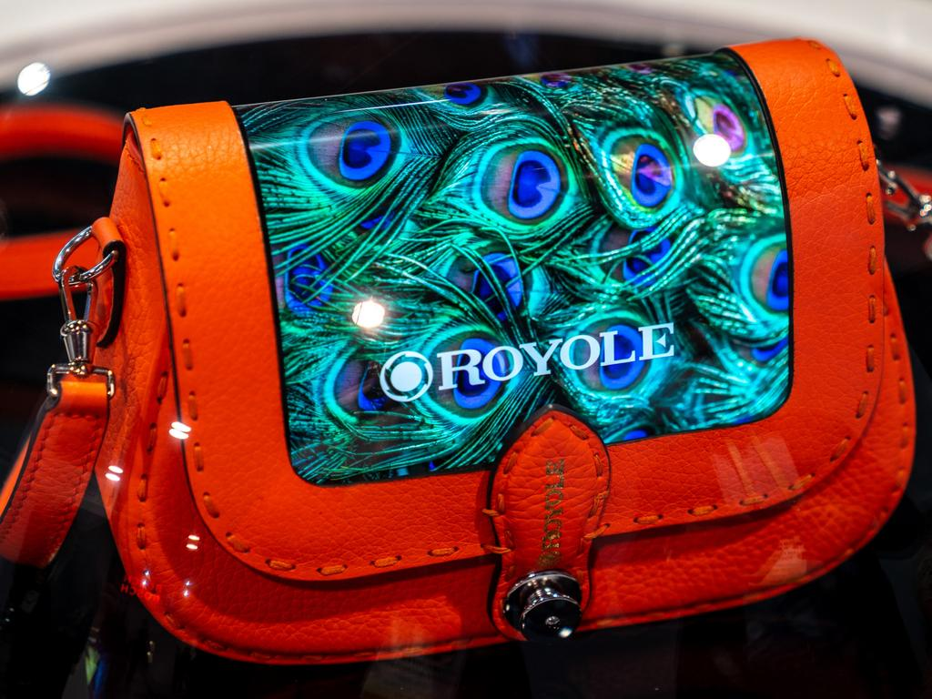 Chinese firm Royole showed off a handbag with flexible screen at CES 2020. Picture: Jennifer Dudley-Nicholson