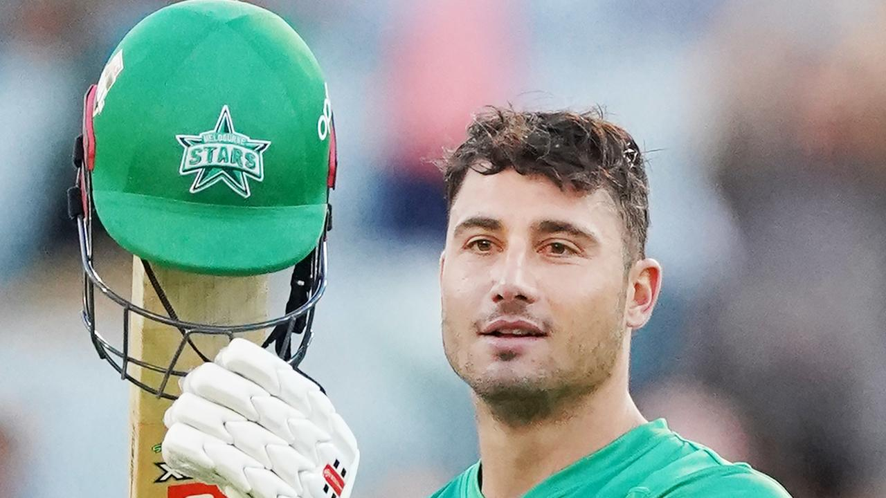 Marcus Stoinis celebrates breaking Chris Lynn's record. Picture: AAP/Michael Dodge