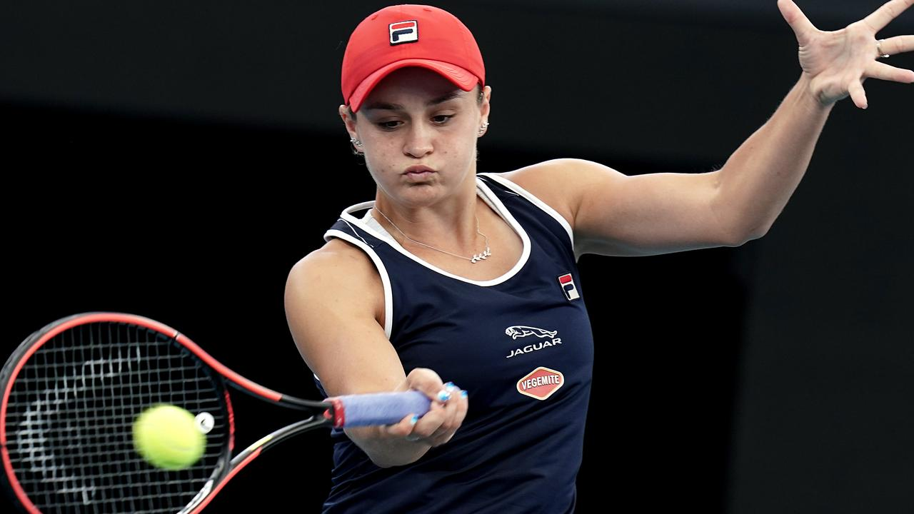 Ash Barty in action during the Brisbane doubles final. Picture: AAP Images