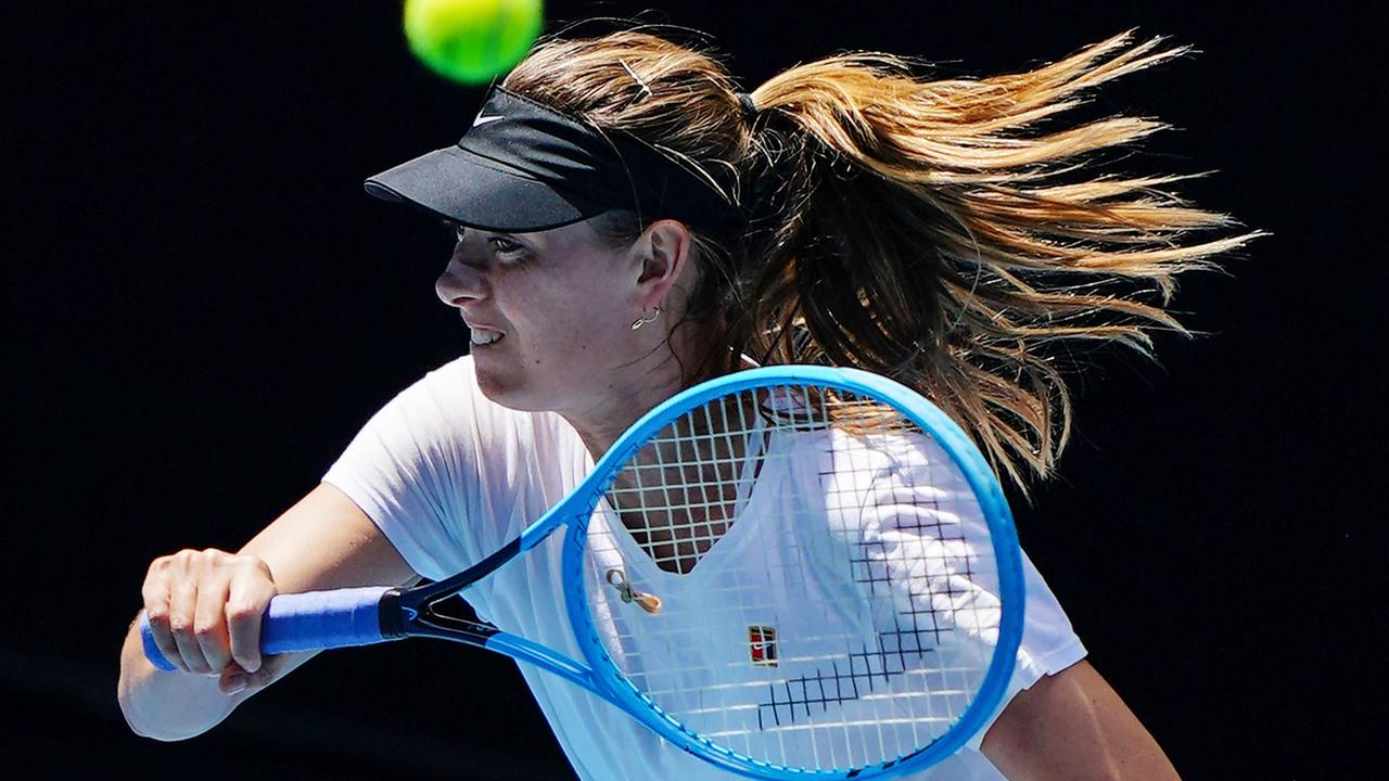Maria Sharapova training ahead of the Australian Open. Picture: AAP Images